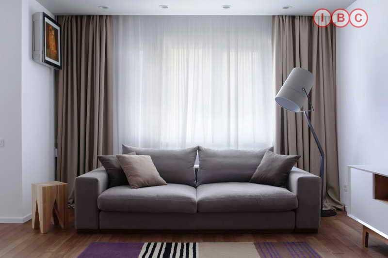 Rèm vải phòng khách chung cư
